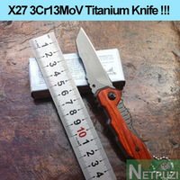 X27 3Cr13Mov Cool wood handle survival knife folding for hunting, defense, camping tools,tactical knives.