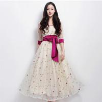 Small elegant belt chiffon one-piece dress embroidery flower medium-long expansion bottom full dress female