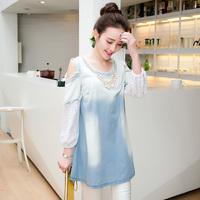 2014 New Arrival Europe Style Women's Medium Long Denim Dress  Fashion Plus Size Short Sleeve Denim Dress