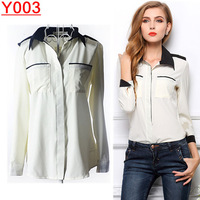 Big Promotions 2014 hot summer Fashion trendy women blouse shirts Classic black and white Department shirt--Y003