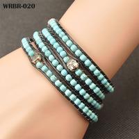 Wholesale Wrap Bracelets, Fashion Handmade Leather Bracelet 4 Rows Bracelet 6mm stone Beads Leather Wrap Bracelets WRBR-020