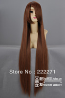 FREE SHIPPING Umineko no Naku Koro ni Hiiro no Kakera Long Mixed Light Brown Full Lace Cosplay Wig Costume Heatable Anime + Cap