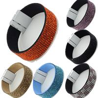 2014 newest popular jewelry Delicate stainless steel magnetic buckle bracelet Bright rhinestone bracelet Brazil's style 3