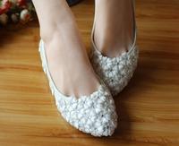 Rhinestone wedding shoes  white lace flower wedding shoes handmade flat shoes married bridal bridesmaid white dress