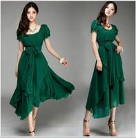Hot ! New summer , Ms. fashion casual Korean version of the irregular chiffon dress big skirt dress, free shipping