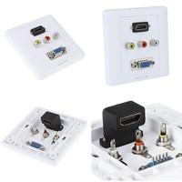 Free Shipping  2pcs/lot 1 x HDMI 1 x VGA 3 x AV mulit Wall Plate Coupler Socket Audio adapter