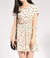 Free Shipping 2014 Bargain HOT SALE Women Spring Summer New Fashion Animal Bird Print Vintage Mini Dress, Plus Size S-XXXL