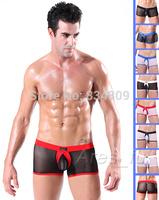 underwear men men's sexy gay male panties bugle pouch gauze boxers Sheer lace shorts brand Mesh penis sheath see through