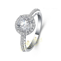 Free shipping 1CT Simulated Diamond Rings for Women S925 Sterling Silver Ring for Engagement Bridal Anniversay Rings
