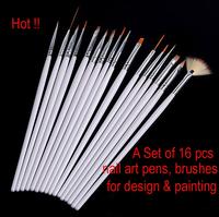 16 Pcs Nail Art Acrylic UV Gel Design Brush Set Painting Pens Tips Tools kit free shipping high quality guaranteed