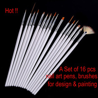 16 Pcs Nail Art Acrylic UV Gel Design Brush Set Painting Pens Tips Tools kit free shipping high quality guaranteed
