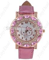 New 2014 Original Children Diamond Hello Kitty Watches for Kids Girls Brand Gift Sport Wristwatches Accessories Without Box