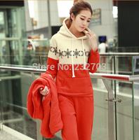 New winter deer snowflake sweater suit three-piece cotton stitching thick hooded vest S M L XL XXL XXXL