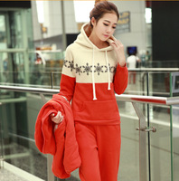 New winter deer snowflake sweater suit three-piece cotton stitching thick hooded vest S M L XL XXL XXXL