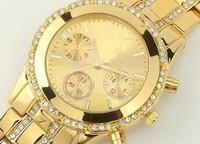 2014 New kors Gold Double  Rhinestone alloy Watches Luxury Three dial Brand Women Ladies dress watches clock Quartz WristWatch