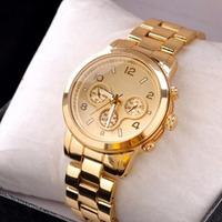 2014 New Gold alloy watches famous Luxury Brand Women Ladies dress watches clock Quartz WristWatch drop shipping