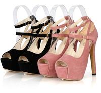 2014 spring and summer women princess platform fashion sexy open toe black ultra high heels women's sandals pumps mxg001