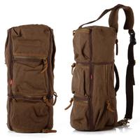 Men Travel Canvas Bags Backpack Women Backpack Canvas Genuine Leather Military Vintage Cask Bag 9120#70