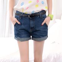 2014 summer andautumn loose plus size high waist denim shorts female mm hole roll-up hem shorts free shipping*