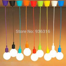 frete grátis e27 silicone coloridas suporte da lâmpada alta qualidade pingente luz 12 cores diy pingente luzes +100cm cord+ceiling base(China (Mainland))