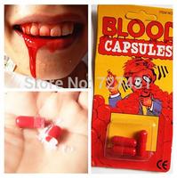 Free Shipping 6Pcs Costume Fake Blood Pill Capsules Horror Funny Halloween Gag Joke Party Set