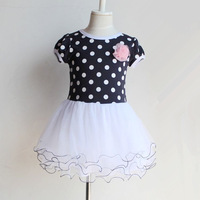 clearance 2014 summer new fashion polka dots navy/Apricot flower girls dress 3~11age 1pcs retail kids clothes