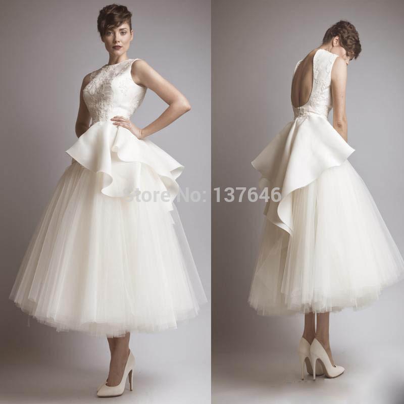 2014 ashi Studio a tè linea lunghezza abiti da sposa backless gioiello scollatura tulle senza maniche abiti da sposa appliques increspato