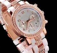 2014 New Luxury  Women watch Wristwatches Kors watch Rhinestone big crystal rubber band high quality Quartz watches for women
