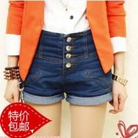 2014 summer and autumn  shorts female single breasted roll-up hem plus size high waist denim shorts female free shipping*