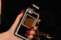 Retail Box Pretty Luxury bling DIY Diamond Perfume Bottle case For Iphone 4 4S With CC Gold Metal Leather Chain+Free Shipping
