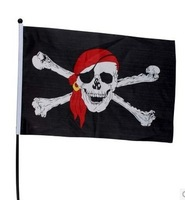 free shipping 20pcs/lot  fHalloween Bar Decoration Pirates of the Caribbean skull flag bearer flag waving pirate flag trumpet