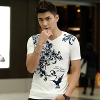 2014 summer new Korean men's short-sleeved t-shirt Slim short-sleeved V-neck t-shirt