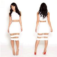 2014 New Vestidos Summer Transparent Gauze Mesh Sexy White Bodycon Dress Sleeveless Midi Bandage Novelty Dresses Robe Moulante