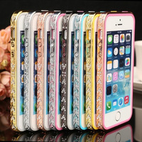 Hot Sale Fashion Bling Rhinestone Cover for iphone 4 4s Bumper Phone case Diamond Frame for iphone 5 5s Metal Case