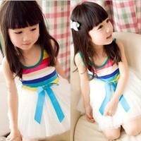 New 2014 Fashion Baby Sleeveless Beautiful Dance Dress Girls Lovely Striped Rainbow Princess Dresses Ball down