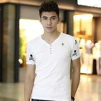 The new summer models cotton men's t-shirt Korean version of Slim V-neck short-sleeved t-shirt printing