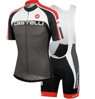 New 2014 Castelli men cycling jersey+ bib shorts  Bike bicycle  road racing ropa ciclismo bicicletas maillot  gel pad