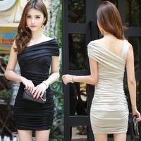 Spring women's pleated double-shoulder short-sleeve elegant tube top sexy slim hip slim one-piece dress