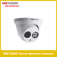 2014 Original Hikvision IP Camera DS-2CD2332-I 1080p 3MP IR Fixed Focal Dome Camera Network Camera Support POE  Free shipping