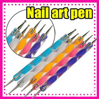 5PCS 2Way Marbleizing Dotting Manicure Tools Painting Pen Nail Art Paint