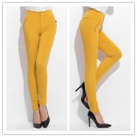 The new large size women's cotton solid color pencil pants feet pencil pants zipper wild 5 colors 6 sizes: S-XXXL