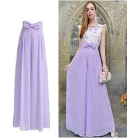 New 2014 summer women purple high waist chiffon skirt flare palazzo pants bow loose culottes wide leg pants trousers