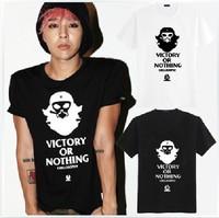 kpop  bigbang G-dragon shirt GD T-shirt  summer casual cotton white T shirt  tees for men women