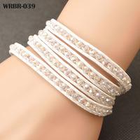 European Style Bracelets Fashion Handmade Leather Bracelet 4 Rows Bracelet 6mm Crystal Beads Leather Wrap Bracelets WRBR-039
