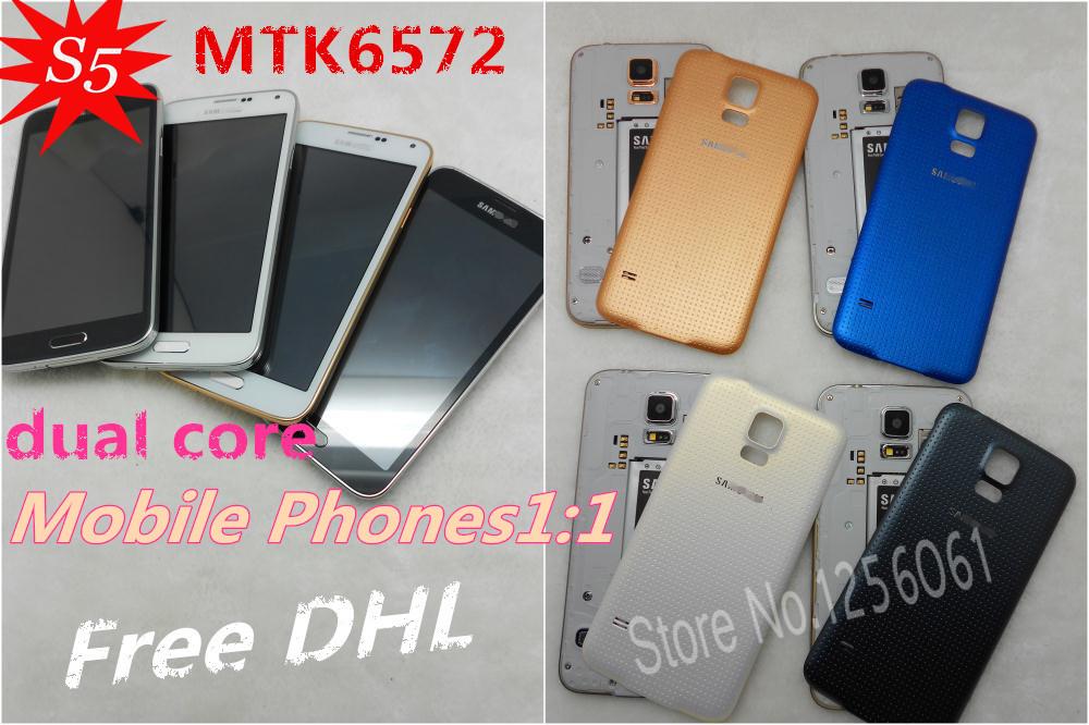 Free DHL New Arrival original logo Perfect 1:1 clone MTK6572 S5 phone SM-I9600 smart Phones 1G RAM dual Core 4G ROM Heart Rate(China (Mainland))