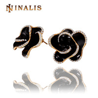 Free Shipping(Min Order is $10) 2014 New Austrian Crystal Black Rose Stud Earring, 18K Rose Gold Plated Crystal Earring Jewelry