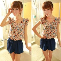 Fashion Summer Women Casual Jumpsuits.Short Sleeve Round neck Jumpsuit. size S,M,L lady Rompers js1011