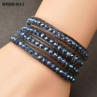 European Style Bracelets Fashion Handmade Leather Bracelet 4 Rows Bracelet 6mm Crystal Beads Leather Wrap Bracelets WRBR-041