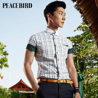 Peace bird 2014 Summer coat new men's casual lattice shirt slim tide B1CC32706B4