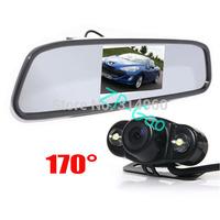 "4.3"" LCD Mirror Monitor Rear View Kit + 2 LED IR Car Reversing Camera Sensor 170 degree Waterproof Free Shipping"